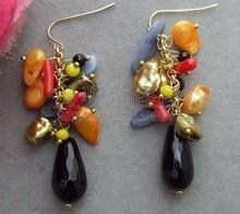 E072417 boucles doreilles en cristal de corail avec perle donyx Keshi