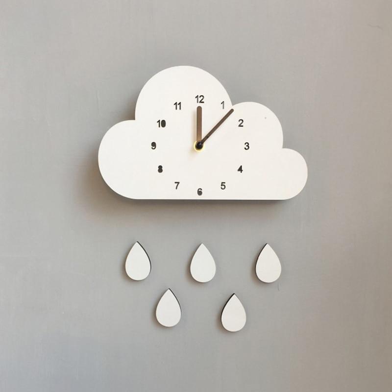 Reloj de estilo nórdico para cuarto de niños, reloj de nube de madera, decoración colgante de pared, decoración de pared de estilo escandinavo, decoración de habitación de estilo nórdico para niños