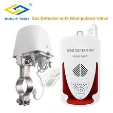 Gas Leck Detektor LPG Erdgas Leck Sensor Haushalt Gas Leckage Alarm System mit DN15 Manipulator Ventil für Home Security
