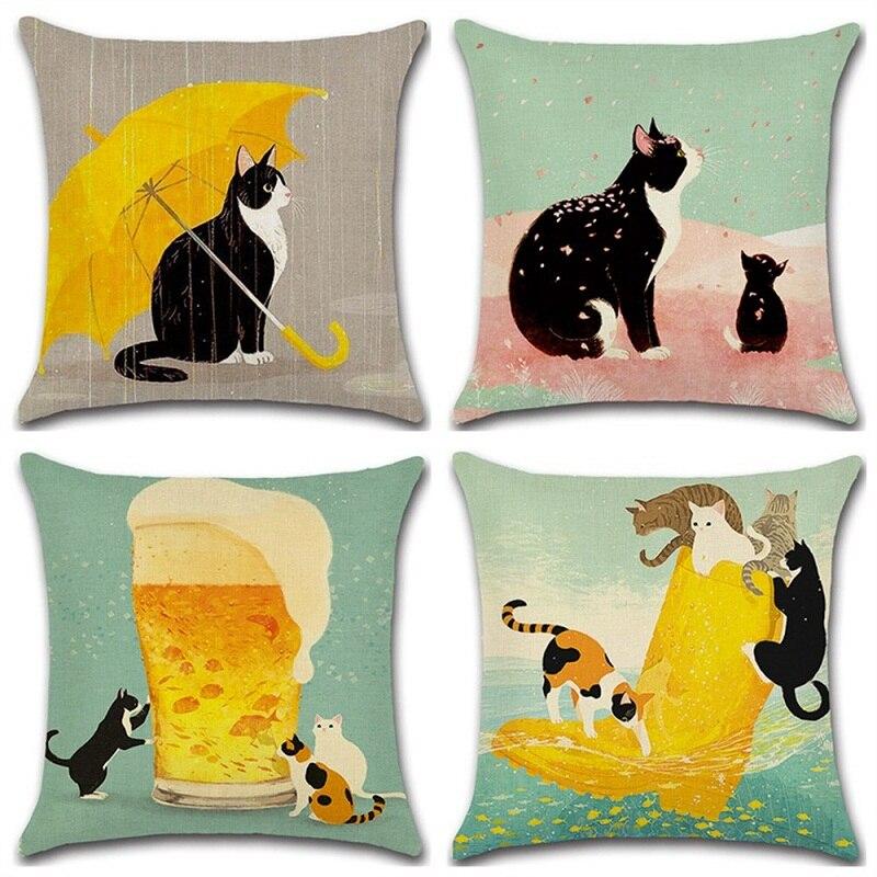 2018 lindo gato 45*45cm funda de almohada lino/algodón Festival funda de cojín sofá cama decoración del hogar almohadas de decoración Nórdica