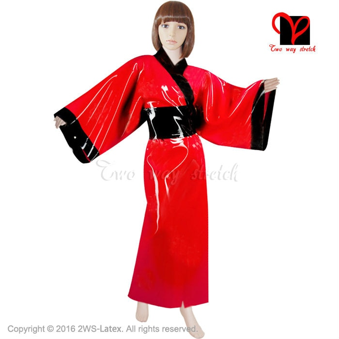 Sexy Latex Kimono Obi band Bath Robe Rubber Dressing Gown Bathrobe Japanese Sleepwear belt  Pajamas plus size XXXL DY-006