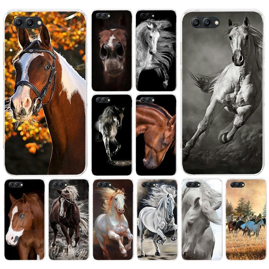 168fg cavalo animal impresso macio silicone tpu capa para honra 9 10 huawei p10 lite y6 prime 2018 mate 10 lite jogar p inteligente