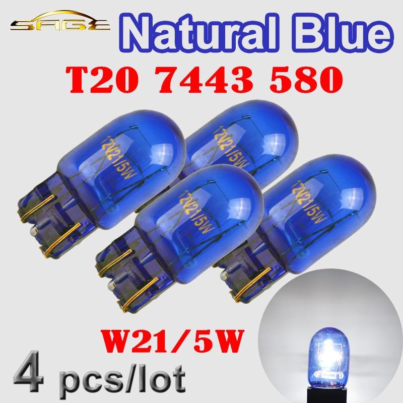 Hippcron vidro natural, t20 7443 580 w21/5w vidro azul super branco 12v 21/5w lâmpada automotiva w3x16q, 4 peças