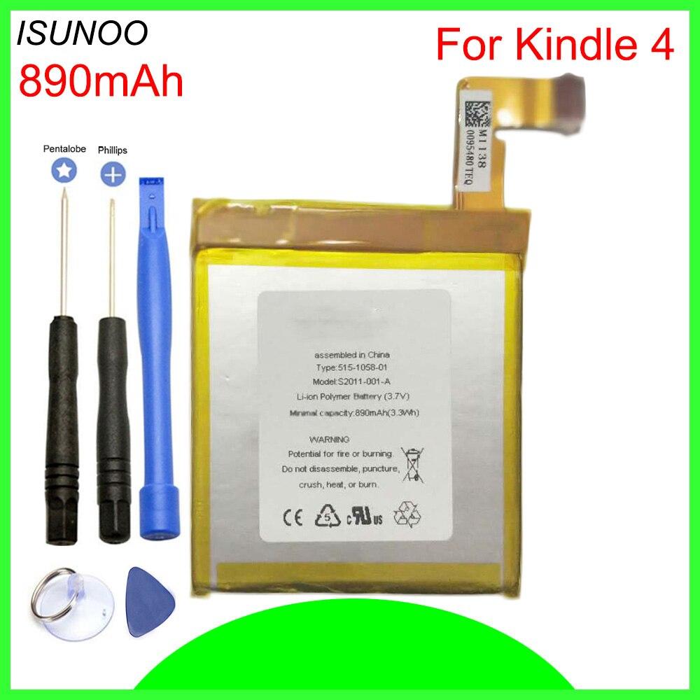 ISUNOO 890mAh батарея для Amazon Kindle 4 5 6 D01100 515-1058-01 MC-265360 S2011-001-S батарея с инструментами