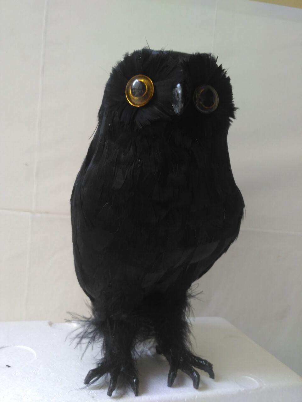 big black simulation owl model foam&feather owl doll gift about 28cm