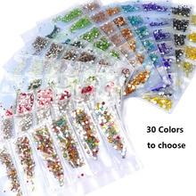 30 couleurs 6 tailles mélanger ongles Strass ss4-ss12 3D Nail Art gemmes charmes Flatback verre Nail Art Strass swarovski ongles cristal