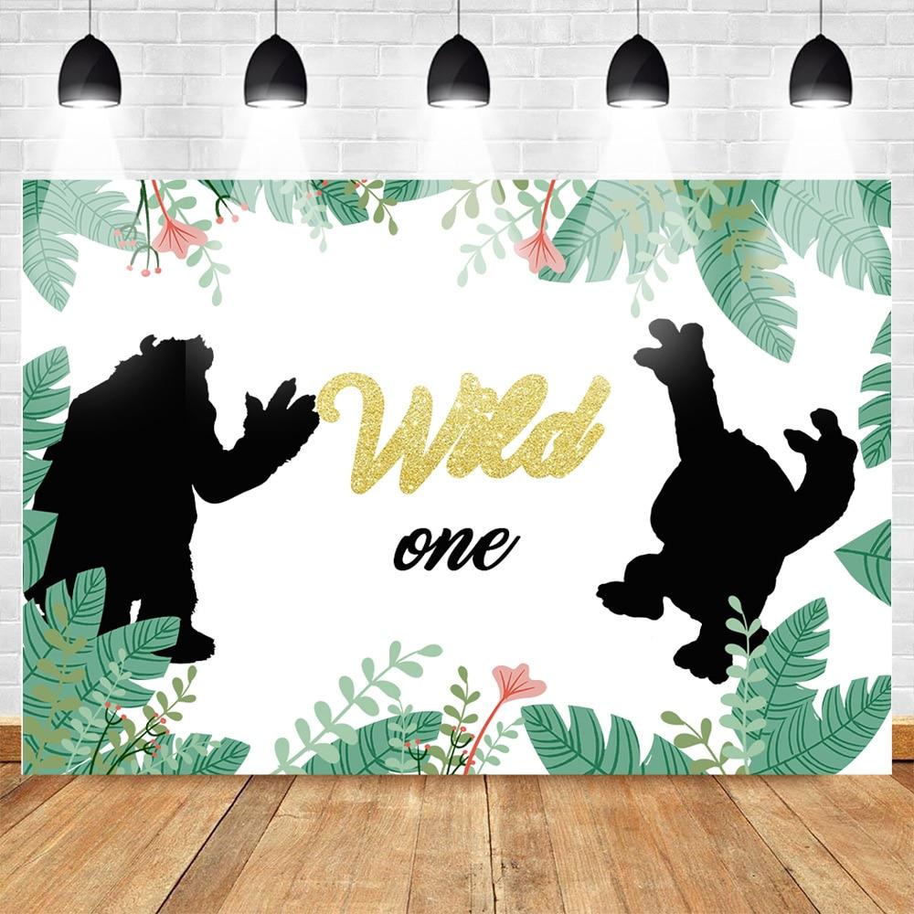 Wild un tema cumpleaños fotografía telón de fondo viñetas de animales cumpleaños Fondo para la decoración de la fiesta dorado brillo hojas verdes