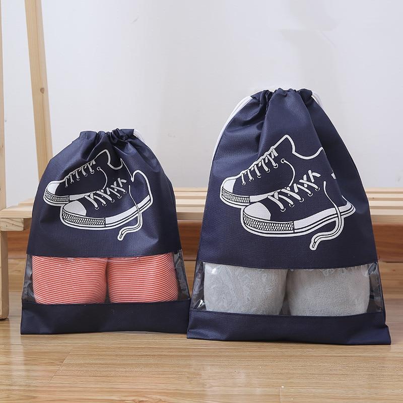 Nueva bolsa de zapatos a prueba de agua de 2 tamaños, bolsa de almacenamiento de zapatos portátil, bolsa de bolsillo para zapatillas, bolsas con cordón, Organizador no tejido