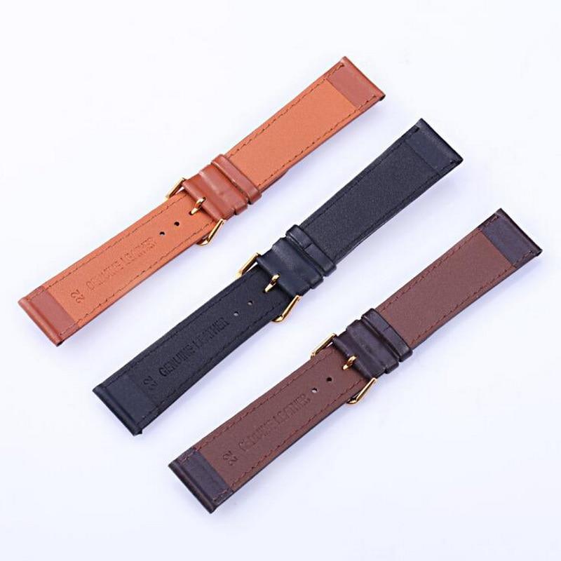 Купить с кэшбэком neway Leather Watch Band Wrist Strap 16mm 18mm 20mm 22mm 24mm 316L Steel Buckle Replacement Bracelet Belt Black Brown