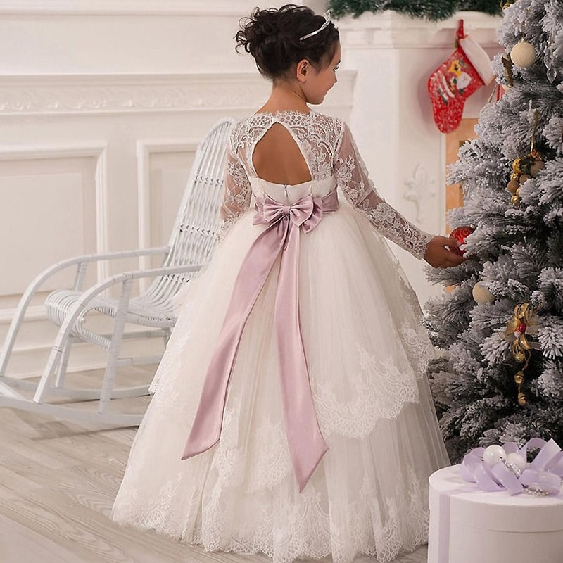 HOt Lace First Holy Communion Dresses Ball Gown Long Sleeves Solid O-Neck Ankle Length Bow Sash Vestidos Primera Comunion 2016 enlarge