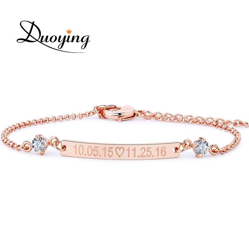 DUOYING Crystal 30*4mm Bar Bracelet grabado personalizado nombre personalizado pulsera inicial con Zirconia pulsera para mujeres   Etsy