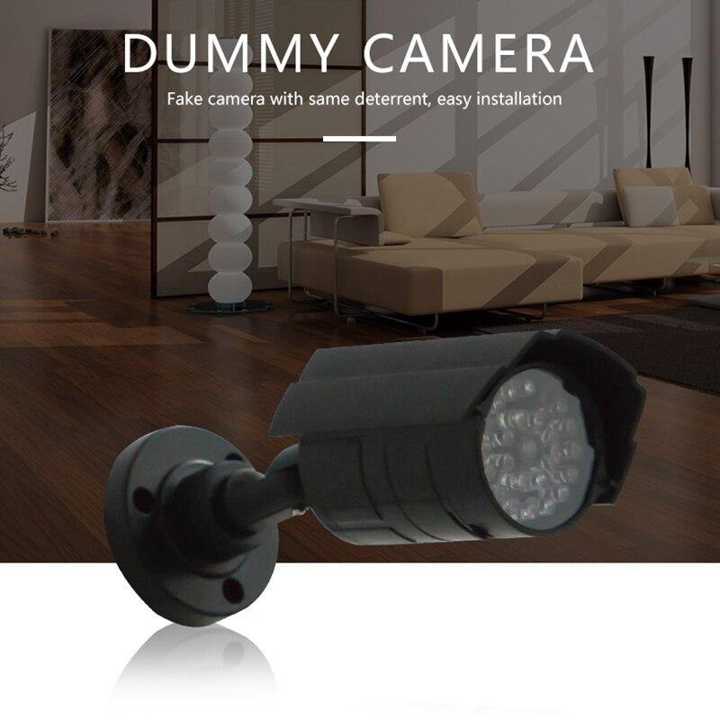 Al aire libre en casa a salvo de simulación de la cámara de vigilancia de seguridad cámara CCTV falsa noche interior rojo intermitente lámpara de luz LED falso Camara