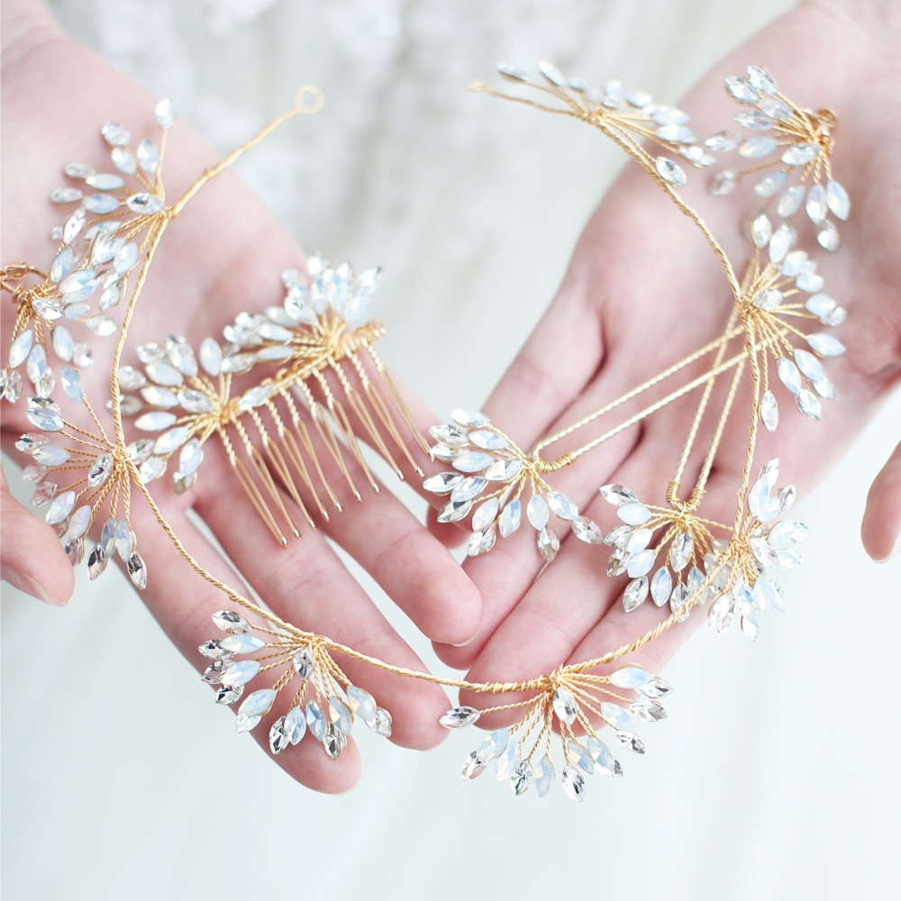 Joyería de pelo de novia de cristal de ópalo, corona diseño de vid hecha a mano, horquillas, conjunto de novias, peine, tocado de boda