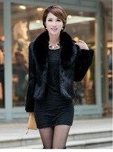 Noir/blanc femmes hiver automne Section courte fausse fourrure vestes synthétique lapin fourrure collier décontracté fourrure manteaux Casaco Feminino K300