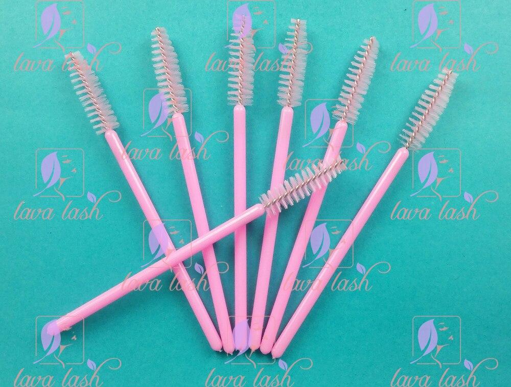 Frete grátis 50 pçs/lote novo rímel pincel de maquiagem compõem escova varinha cílios falsos extensões ferramentas rosa bonito
