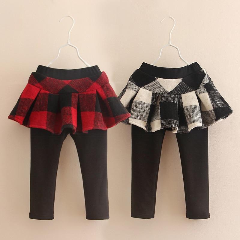 New Fashion Winter Autumn Baby Girl Clothing Cute Kids Print Plaid Ruffles Cotton Tutu Layer Skirt Legging Warm Velvet Clothes