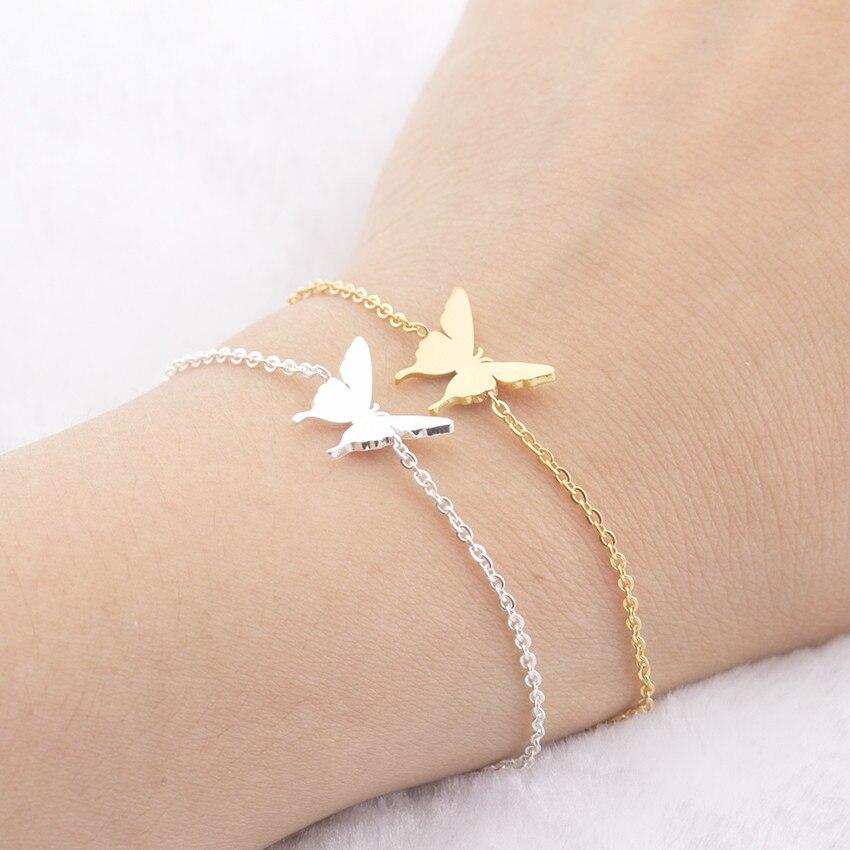 Cute Butterfly Charm Bracelets For Women Girls Gold Silver Color Stainless Steel Female Chain Link Bracelet Fashion Jewelry 2019