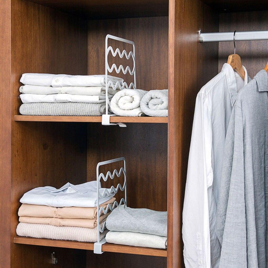 Estante de armario, divisor de armario, estantes de separación, divisor de ropa, estantería de alambre, organizador de almacenamiento, alta calidad, decorativo para el hogar # sw