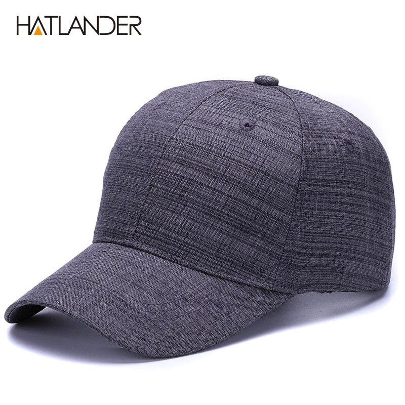 [HATLANDER]Drop shipping Cotton linen solid sports hats 6panel plain caps adjustable gorras casual baseball caps for men women