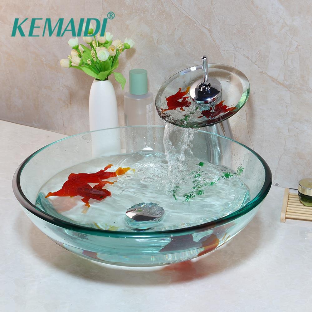 KEMAIDI الذهبي الأسماك الحمام مغسلة الحنفيات مجموعات حوض الزجاج المقسى بالوعة مع صنبور المياه حوض مجموعة و المنبثقة استنزاف