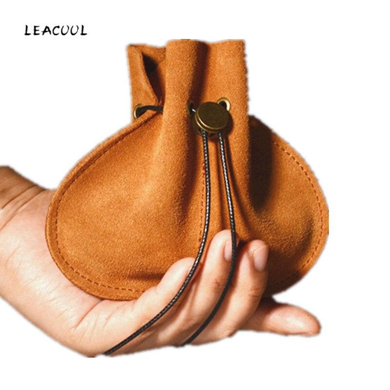 Bolsa de leacol para moedas, bolsa de couro barato com cordão para moedas, embalagem para joias