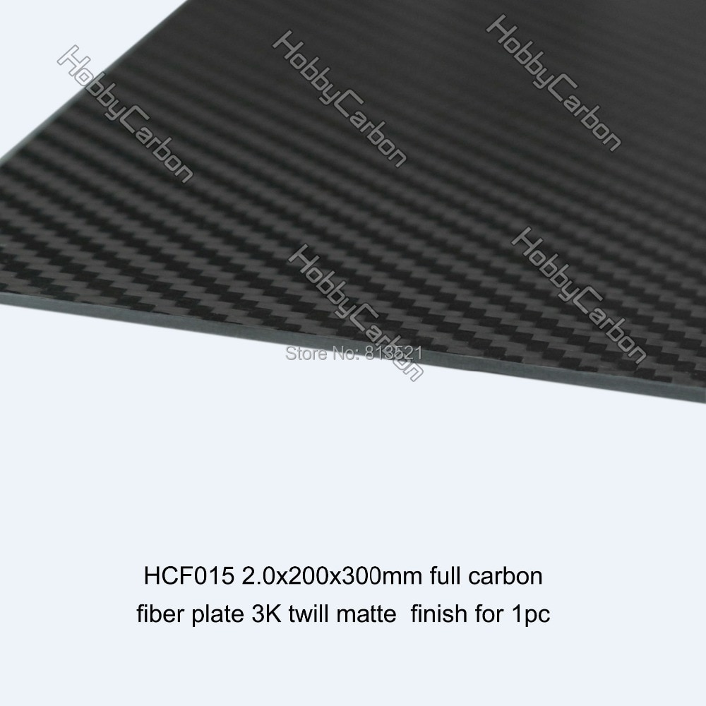 HCF015 envío gratis por HongKong Post + 2,0mm X 200mm X 300mm 100%/Sarga de fibra de carbono completa placa/hoja/tablero mate