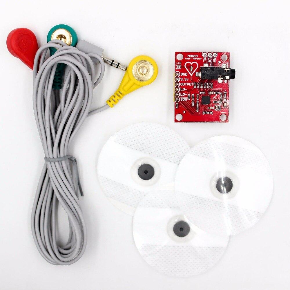 Ecg модуль AD8232 измерение показателей ЭКГ Пульс сердце ЭКГ датчик мониторинга модуль Комплект Электронный diy kit
