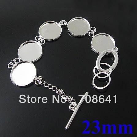 23mm Blank Bracelet Bases Settings Round Bezel tray Glass Cabochons Pad Metal cuff Bangle Bracelet Blank Findings Silver tone