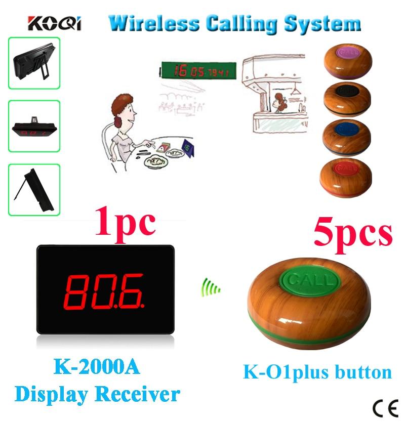 Wireless waitress calling pager system K-2000A desktop screen with 5 bell buzzer