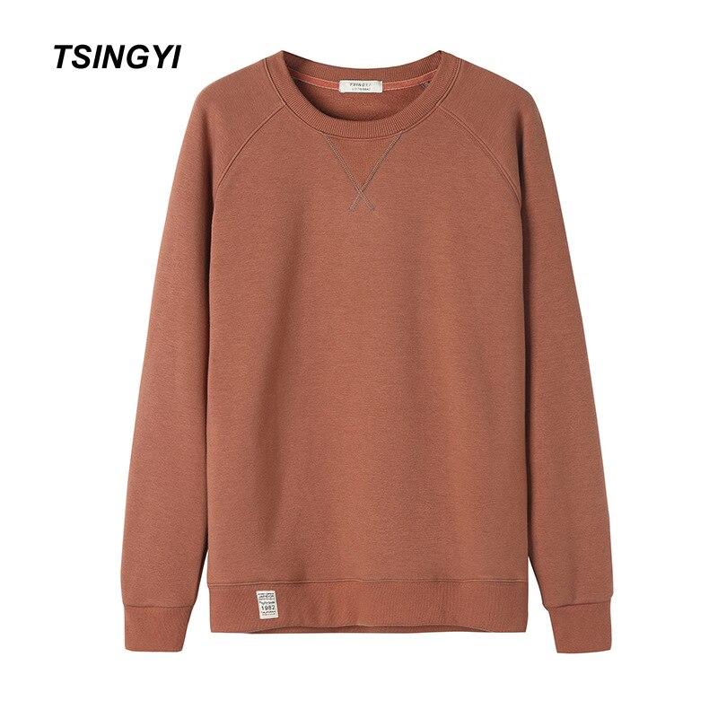 Tsingyi pulóver de vellón sólido para hombres Hoodies calientes de cintura ancha cuello redondo de manga larga Streetwear Sweat Homme hombres Hoodie sudadera