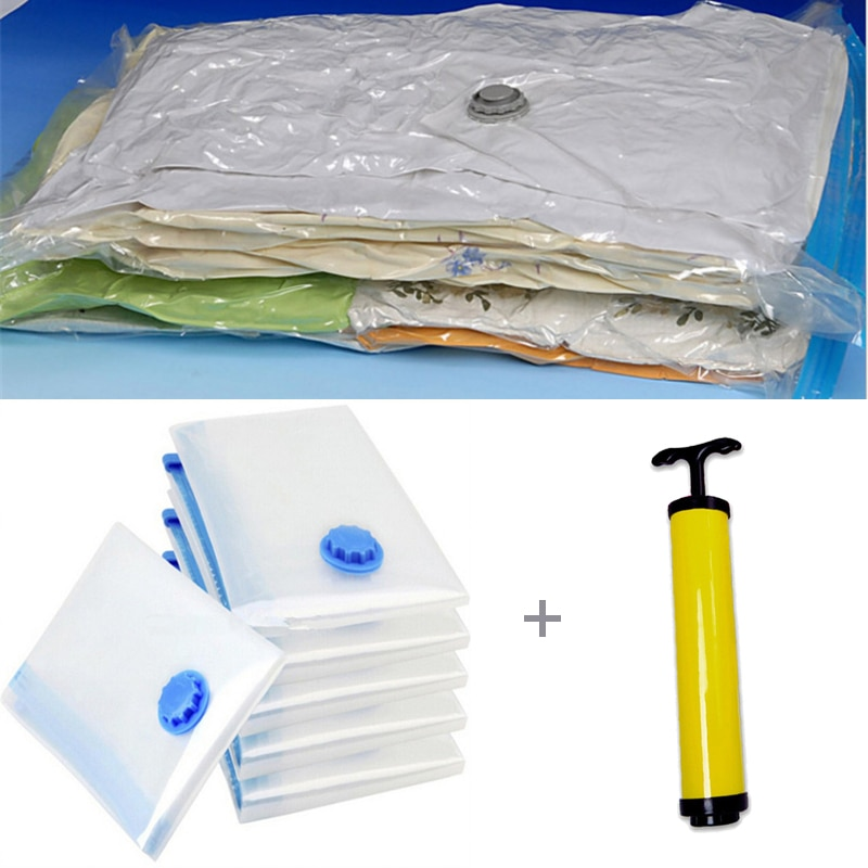 7 unids/set bolsa de vacío con bomba de mano bomba de almacenamiento organizador casa borde transparente de organizador de ropa sello comprimido espacio de viaje salvar