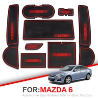 ZUNDUO Gate slot Mats For Mazda 6 2008~2013 GH Non-slip Interior Door Pad/Cup Non-slip mats Red White