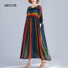 Vestido ARCSINX Boho de talla grande 4XL 5XL 6XL 7XL 8XL a rayas Mori Girl vestido de algodón de talla grande vestidos y vestidos de verano