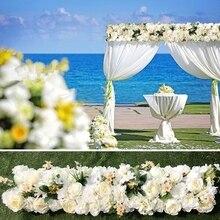 جناح الزفاف روز الاصطناعي الزهور شرائط بيضاء اللون زهرة الدعائم الديكور الحدث الزفاف الستارة 3 متر x 24 سنتيمتر