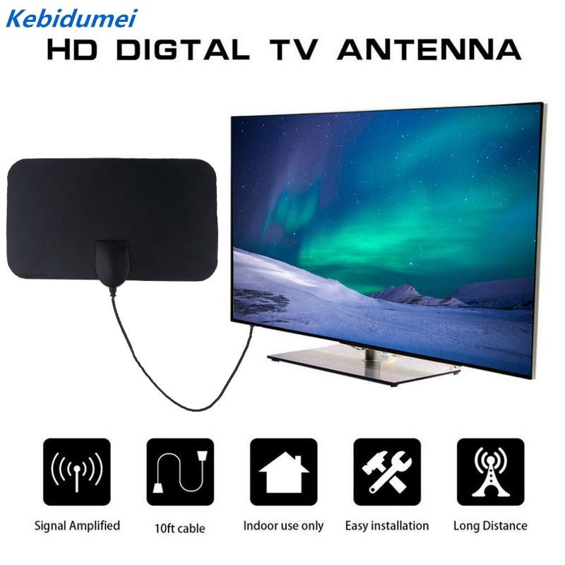 kebidumei Flat Indoor HD 120X210mm Digital Indoor Aerial TV HDTV Antenna 50 Miles High Booster Signal Capture for TV EU Plug Hot