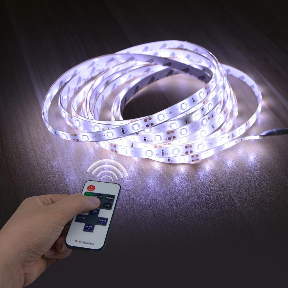 Tira de luces LED de 12V, 1M, 2M, 3M, 4M, 5M, cinta de lámpara LED regulable, Blanco cálido, 2835 SMD, cinta de diodo con Control remoto de atenuación RF