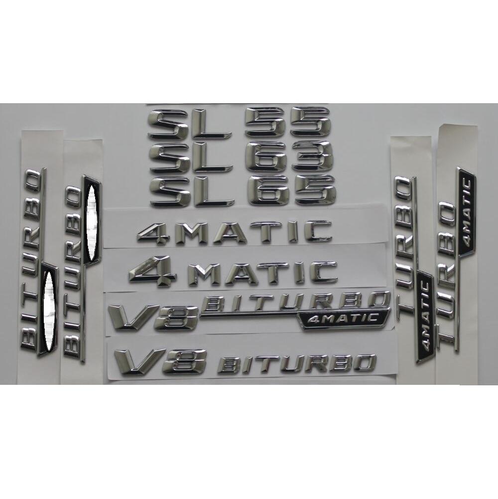 Cromo brilhante prata tronco do carro traseiro número letras palavras emblema emblema emblema adesivo para mercedes benz sl55 sl63 sl65 amg 4 matic