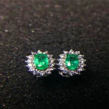 Vintage emerald stud earrings 3*5mm natural emerald silver earrings solid 925 sterling silver emerald earrings romantic gift
