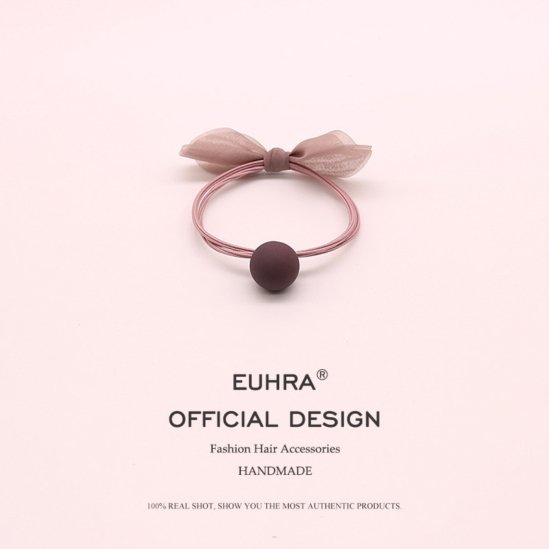 AliExpress - EUHRA 3 Colors Elastic Hair Bands Bow-knot Rosette Frosted Chiffon Ball Elasticity Women Girls Hairband Children Rubber Band