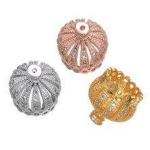 JUYA Zircon Copper Crown Charms 13mm Tassel Cap Pendant Diy Jewelry Long Necklace Earrings Findings Accessories Wholesale