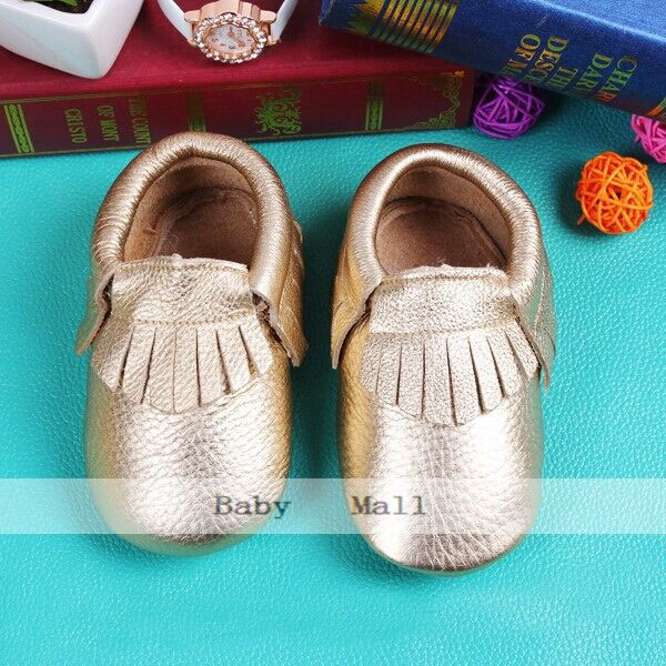 gold  Genuine Leather Soft Baby Shoes First Walkers Toddler Baby Moccasins Anti-slip Infant fringe S