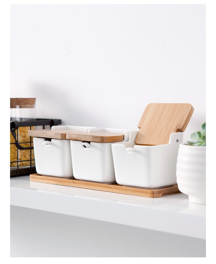 1 Juego de jarra de cerámica japonesa de bambú para condimentar botellas, conjunto de cocina, especias, sal, pimienta, tanque con marco de bambú JO 1076