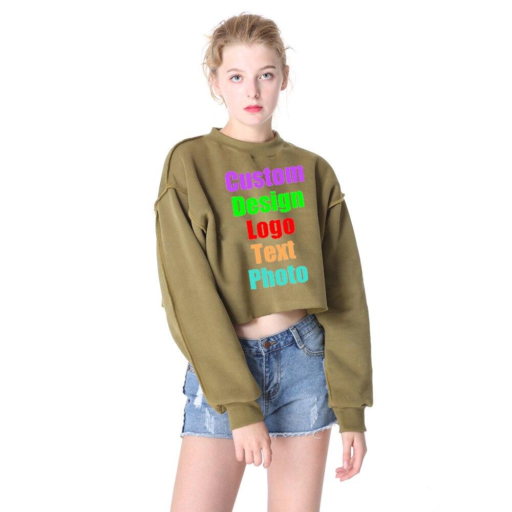 Candy Colors Oversized SEXY Women Crop Sweatshirt Fleece Autumn Female Custom Logo Photo Text Printed Punk Rock Hoodie Jumpers