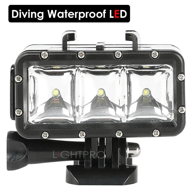 FlashLight Lamp Underwater Diving Waterproof LED Flash Video Light Mount For GoPro SJCAM SJ4000 H9 H9R xiaomi yi