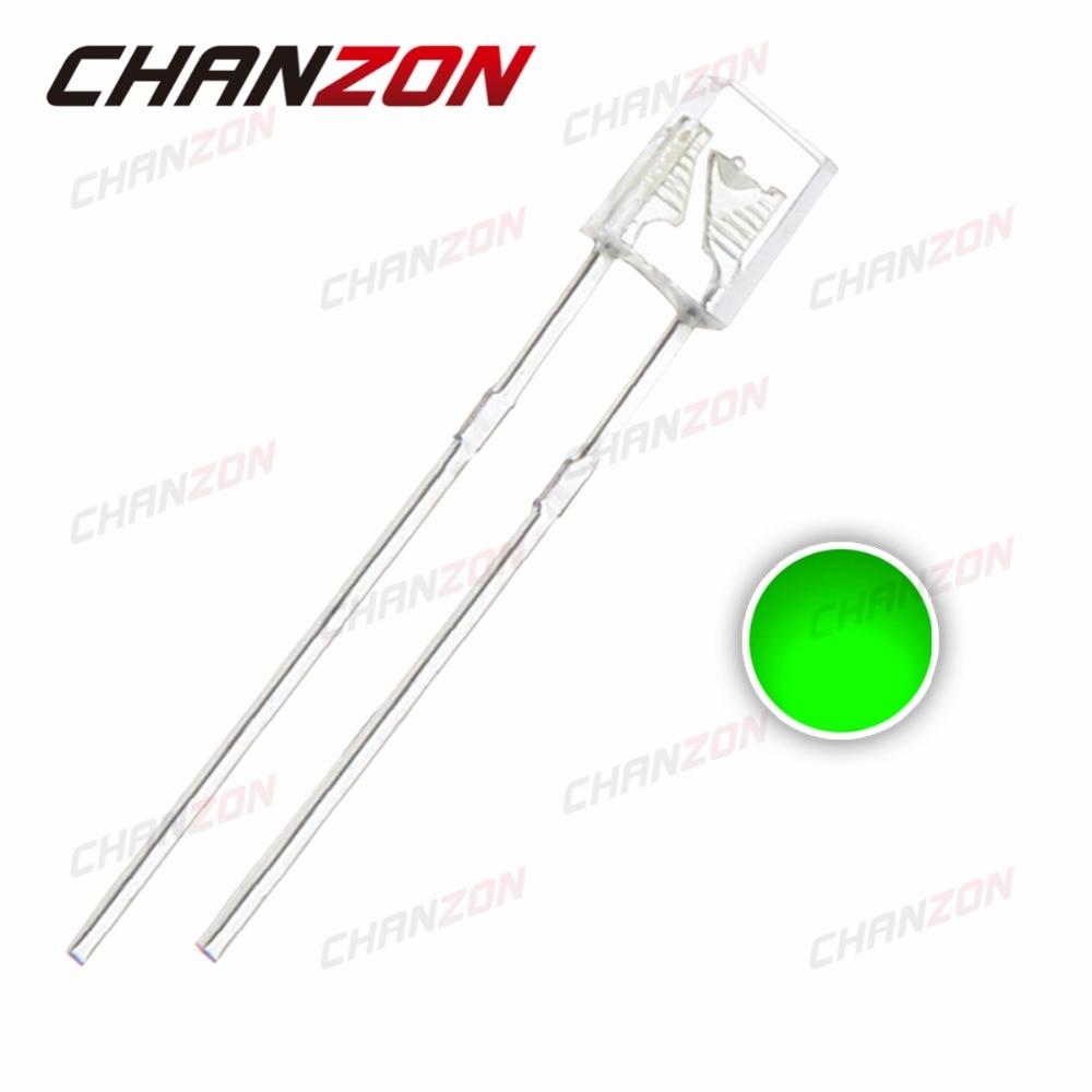 100 Uds LED cuadrado 2X3X4mm diodo verde 20mA 515-525nm transparente 2*3*4 rectángulo 3V agua claro diodo emisor de luz LED lámpara