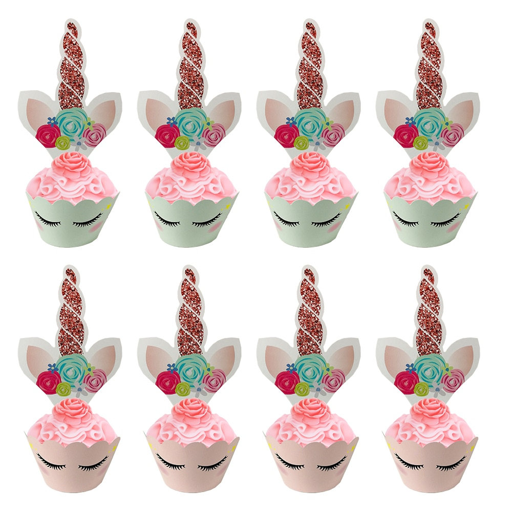 48pcs Unicorn Cake Toppers Cupcake Wrappers Kids Birthday Party Decoration Baby Shower Supplies Baking Tools