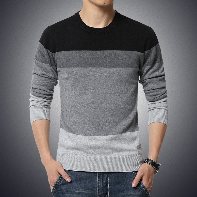 Casual Men's Sweater O-Neck Striped Slim Fit Knittwear 2020 Autumn Mens Sweaters Pullovers Pullover