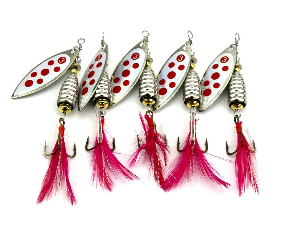 5 uds 8cm-12,7g pesca carnada cebo giratorio Metal cuchara señuelo duro Spinner señuelos anzuelo de pesca con pluma Spinnerbait(SP130)
