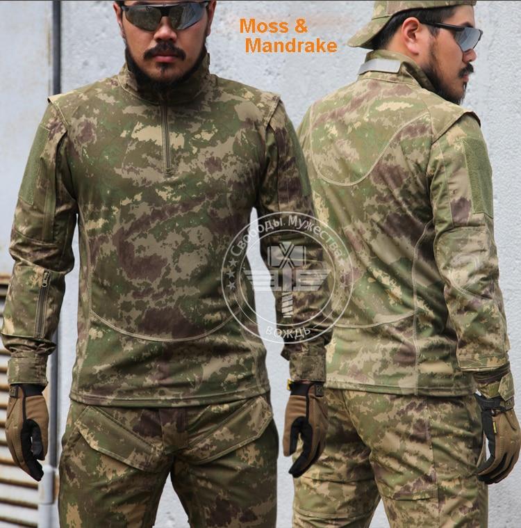 Musgo y Mandrake Camo combate entrenamiento camisa manga larga camisa táctica