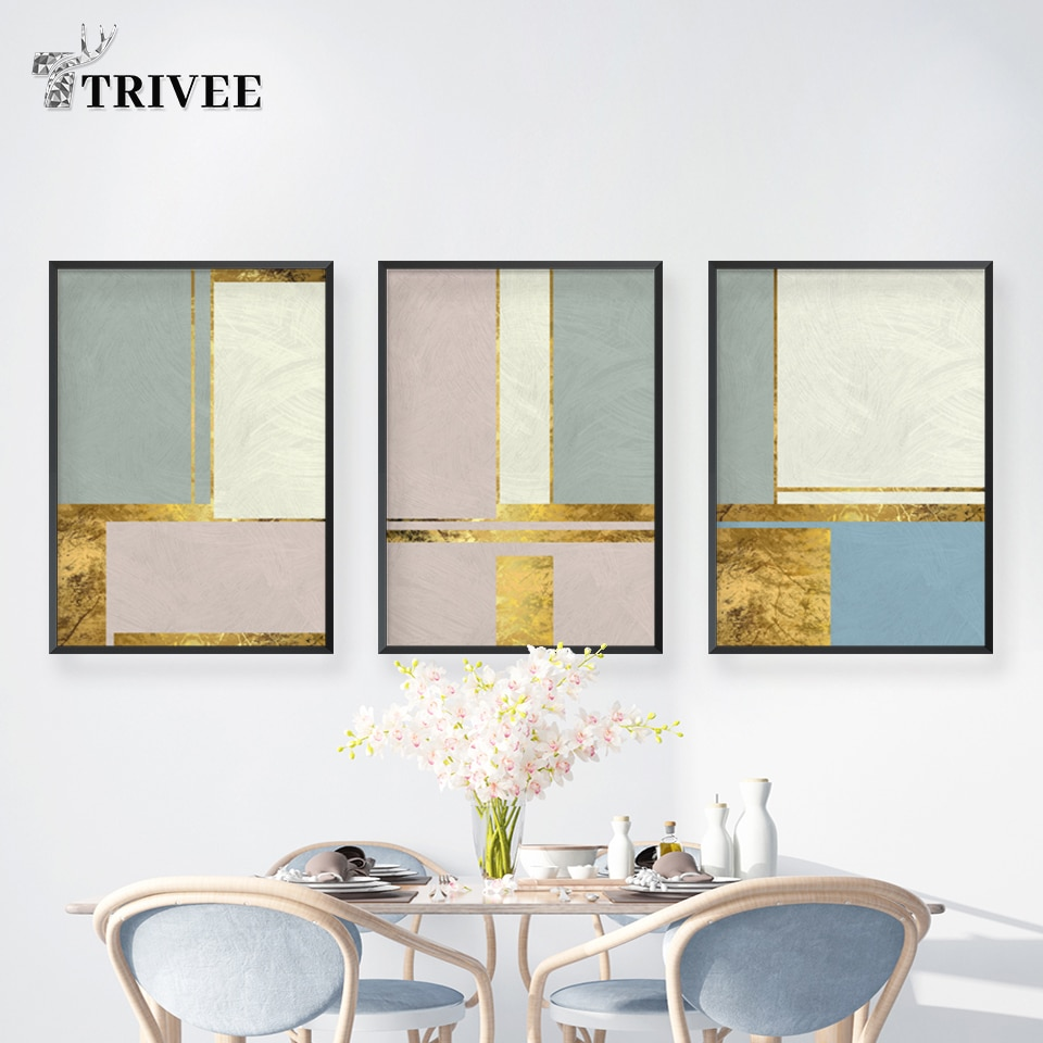 Cuadros abstractos en lienzo con líneas doradas, cuadros de pared para sala de estar, carteles para dormitorios e impresiones, arte Popular, decoración de pared